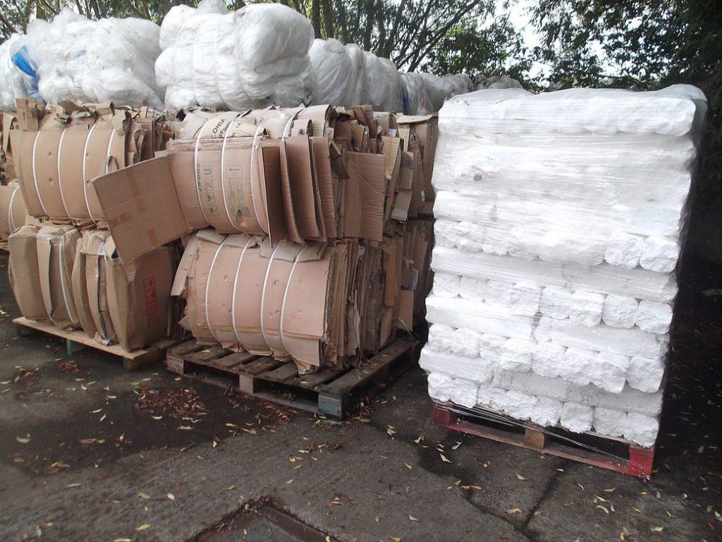 Cardboard and Polystyrene bails