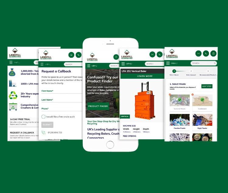 Waste Management Website on Mockup phone