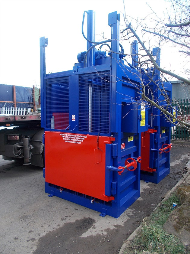Two vertical balers